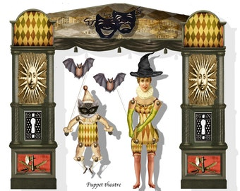 printable gothic Theatre collage sheets DIY shadowbox or puppet theatre DIY supply