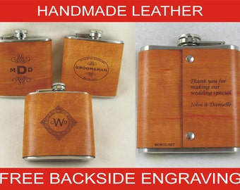 Set of 4 Groomsmen Gifts for the Wedding Party - Personalized Flask - Handmade Leather Flask with FREE Engraved Note on Backside