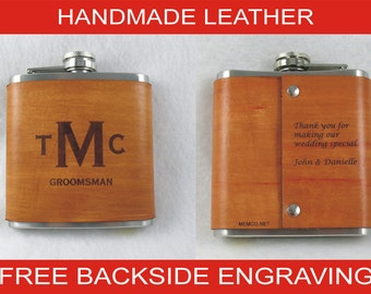 Set of 12 Groomsmen Flasks Personalized, Engraved, with Free Backside Engraving
