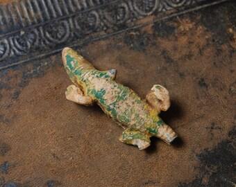 Antique small metal lizard, figurine, home decor