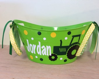 Personalized oval tub - Tractor or other design, Easter basket, gift basket, name or monogram, polka dots, baby gift basket