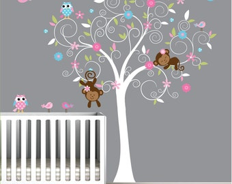 Children Vinyl Wall Decal-Nursery Tree Decals with Owl Flowers Birds