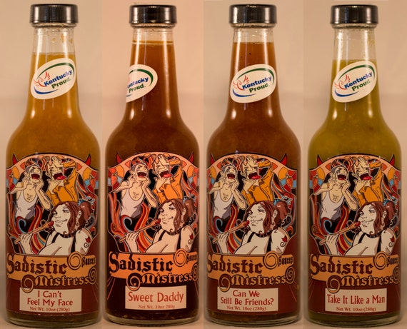 any habanero blend hot sauce in a 10oz bottle Sadistic Mistress Sacues