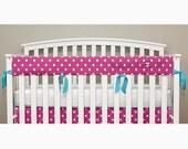 Teething Crib Rail Cover Protector - Hot Pink Polka Dot - Turquoise Ties - Ella -T1