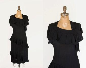1940s Dress - 40s Dress - Black Rayon Crepe Cocktail Dress