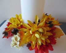 """Fall foliage Candle Ring  - gold, red, orange, and yellow mums candle ring with  3 1/2"""" opening"""