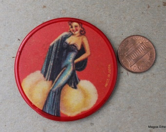 Vintage Pocket Round Pin Up Mirror, Made in Japan, PRICE REDUCED