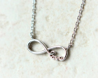 Infinity and Love Necklace / choose your color / gold and silver