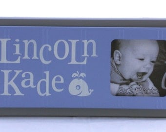 Whale Nursery Decor Art BLUE GRAY Nursery Nautical Decor Personalized Baby Nursery Picture Frames, Decor Photo Frame Custom Order Gifts