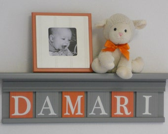 Orange and Gray Nursery Wood Shelf | Sign Personalized Baby Gift | Grey Shelf - Wooden Wall Letters | Boy Nursery Decor