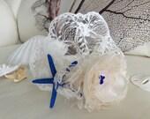 Beach wedding bridal head piece, flower girl hair band with dark blue starfish, ivory cream fabric flower and veil