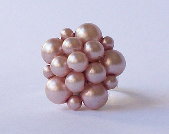 Pink Cluster Ring, Vintage Cluster Ring, Eco-Friendly Ring