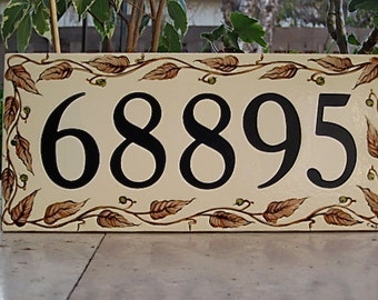 Large BROWN LEAF VINE Tile House Numbers / Address plaque /porcelain/ custom hand painted with olive green berries