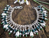 Snowdrop charm bracelet, emerald, white, silver