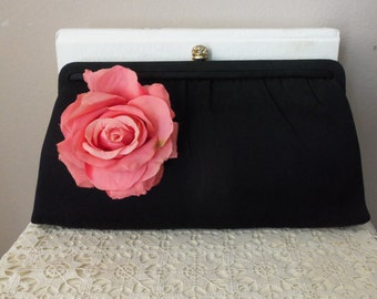 Vintage Evening Bag - Designer Harry Levine - New York - Vintage Floral Accent - Special Occasion - Made in USA - Collectible - Gift Idea