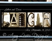 Alphabet Photography Wedding Gift, Anniversary Gift, Custom Name Print 10 X 20 framed