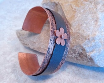 Etched Riveted Copper Mixed Metal Cuff Bracelet