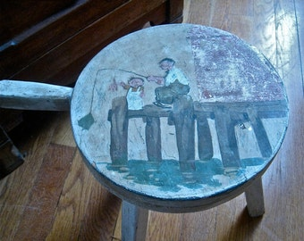 Antique Hand Painted Wood Milk Stool Father and Son Fishing Scene