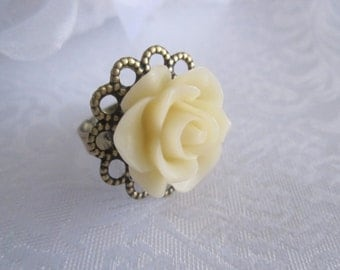 Ivory Flower Ring gold brass ring cream off white adjustable ring Romantic shabby chic victorian accessories Vintage style jewelry ring