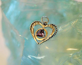 Vintage Sterling Silver 925 HEART PENDANT With Triangle AMETHYST Stone
