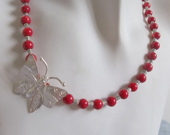 Hill Tribe Silver Butterfly Pendant with Red Coral and Hill Tribe Silver Choker Necklace