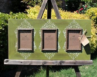 Triple 4x6 Distressed Picture Frame, Ornamental Damask print, Spanish Olive / Linen / Mudslide