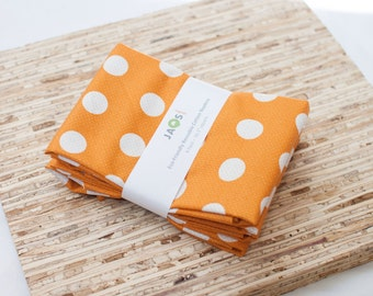 SALE - Large Cloth Napkins - Set of 4 - (N2152) - Orange Dot Circle Modern Reusable Fabric Napkins