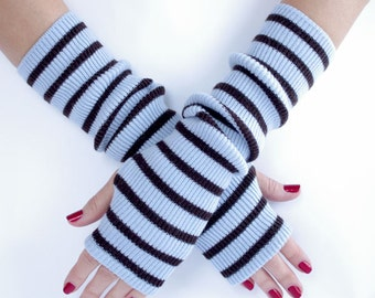 Upcycled wool fingerless gloves, arm warmers, wrist warmers - READY to ship