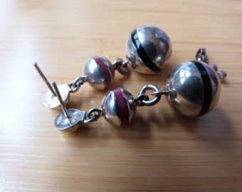 Sterling Silver Dangle Ball Earrings Mexico