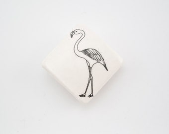 Badge with Flamingo - Ceramic Brooche - Summer Badge