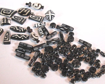 Take 20% Off AFRICAN BONE & CLAY Beads 100 Plus Multiple Sizes Black White