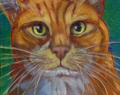 NEW orange cat big whiskers in oil paint on birch wood panel
