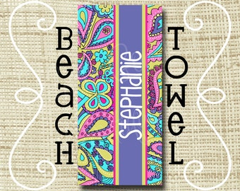 Monogram Beach Towel - Personalized Beach Towel - Ultra Soft Poly/Cotton - Paisley, LP inspired You design
