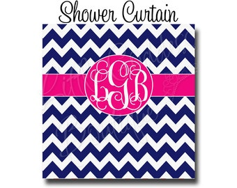 "Custom Personalized Monogram Shower Curtain - You Choose Size , 70"" x 70"", 70"" x 90"", or ANY size Chevron Navy & Pink or ANY Color(s)"
