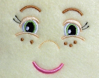 Doll Face Girl with Freckles Embroidery Machine Design