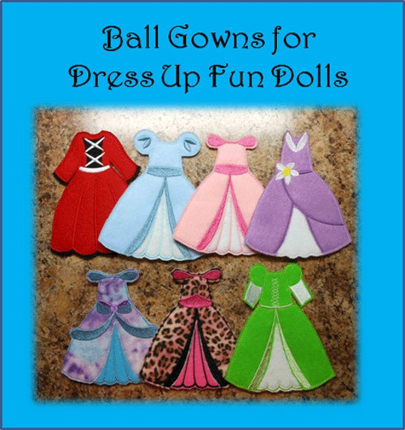 Felt dress up fun doll ball gown embroidery machine design set pronofoot35fo Choice Image
