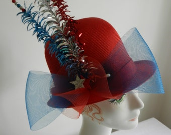 Patriotic Red Straw Hat with Removable July 4th Bow and Trim
