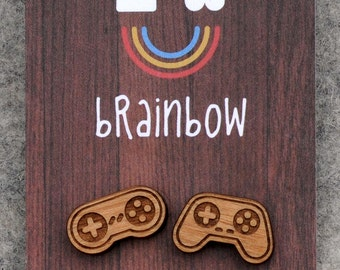 Wooden Game Controller Earrings