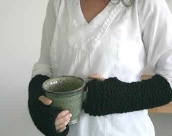 Wrist Warmers Knit Fingerless Gloves Texting Gloves in Black/The Elks/READY TO SHIP
