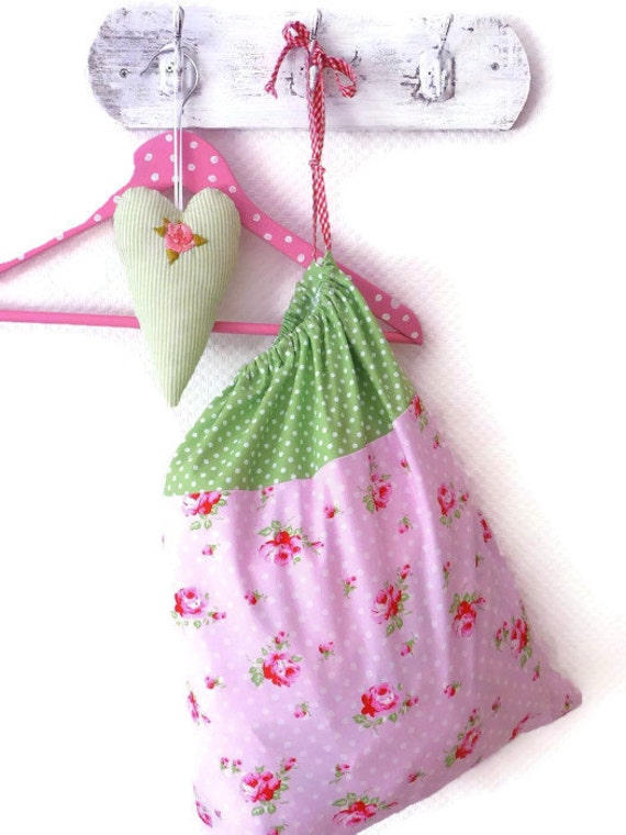 Laundry Bag. Lingerie Bag. Storage.  Roses and green polka dots. Kids room