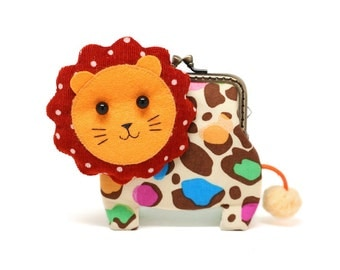 Little brown lion clutch purse in colorful leopard print