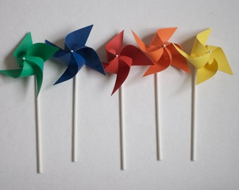 Trolls Birthday Party Decorations, Trolls Movie Favors, Rainbow Party Wedding Pinwheels 12 Mini Pinwheels Rainbow  (Custom orders welcomed)
