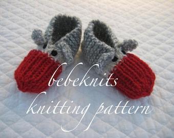 Bebeknits Toddler Sock Monkey Slippers Knitting Pattern in 3 Sizes