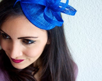 Royal Blue Mini Fascinator - Arianna Mini Royal Blue Mesh Fascintor