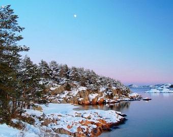 Winter landscape photograph, Norway, Norwegian art, moon art, beach photo, Scandinavian art