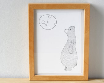 Polar Bear print - Albert the polar bear and moon card