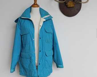 Vintage Woolrich Parka with Hood Womens 60 40 // Women's Medium Large // Winter Mountain Coat in Turquoise Blue
