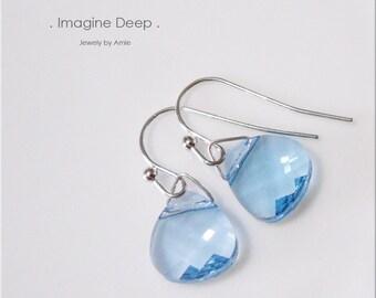 50% off SPECIAL Dangle Crystal Earrings Silver Plated Soft Light Baby Sky Blue Swarovski Crystal Briolette Earrings