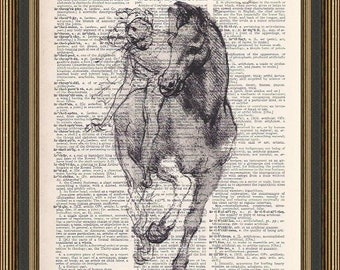 Leonardo da Vinci sketch of a horse and rider is printed on a vintage dictionary page. Horse Print, Horse Lovers Art, Wall Decor.