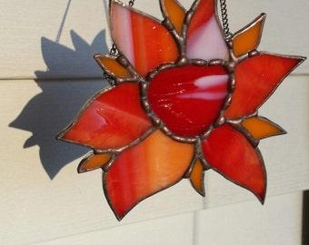 Stained Glass Flower Lead Free Suncatcher - Pendant